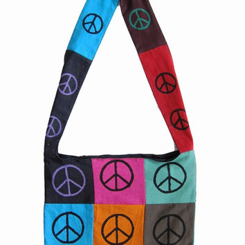 Handmade Cotton Bohemian Sling Hippie Peace Sign Hobo Bag Shopping Tote Work Bag