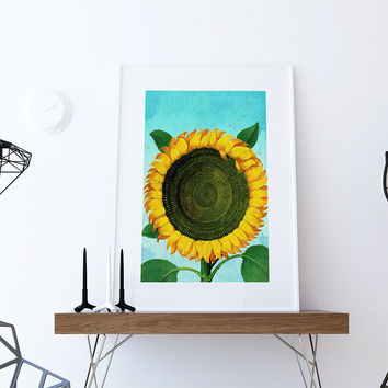 Sunflower Print Tulip art botanical print flower Sunflowers decor floral print floral wall decor Sunflower wall art Canvas