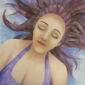 Water Goddess Floating - Professional Prints of Acrylic Paint and Watercolor Pencil Fine Art