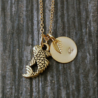Gold Koi Fish Charm Necklace, Initial Charm Necklace, Personalized, Lucky Charm, Koi Fish Pendant, Fish Jewelry, Koi charm