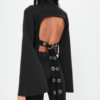 Missguided - Londunn + Missguided Black Open Back High Neck Top