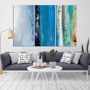 52637 - Blue Abstract Wall Art Canvas Print | Framed - Ready to Hang | Turquoise Wall Art Print