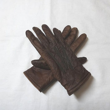 1950s Vintage Child's Brown Leather Winter Gloves, Flannel Lined, Wrist Snap, Embroidery Details, Vintage Costume Gloves, Vintage Gloves