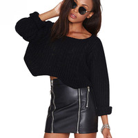 Long Sleeves Irregular Cropped  Knitted  Sweater