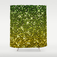 Shimmering Dark Green Gold Glitters Shower Curtain by Tees2go