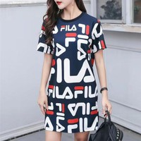 """Fila"" Women Loose Casual Multicolor Letter Print Short Sleeve T-shirt Dress"