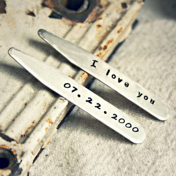 """Custom Collar Stays - Steel 2.5"""" Collar Stays - Personalized Gift for Father's Day, Anniversary, Birthday, Graduation, Wedding and Groomsmen"""