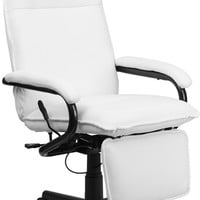 High Back White Leather Executive Reclining Office Chair