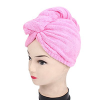 uxcell Women Elastic Cuff Shower Bath Hair Dry Wrap Towel Cap Hat Fuchsia