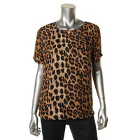 Olivaceous Womens Animal Print Short Sleeves Pullover Top
