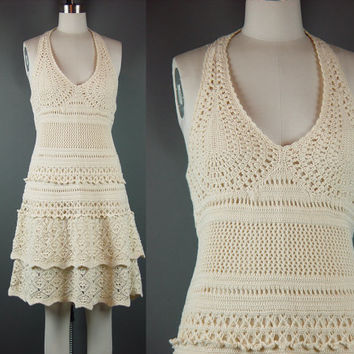 70 Crochet Halter Dress Vintage 1970s Natural Layered Tiered Skirt Short Hippie Boho S M