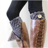 Boot cuffs, boot cuff, topper, knit, BOOTIE CUTIE dark grey crochet, button | CC1