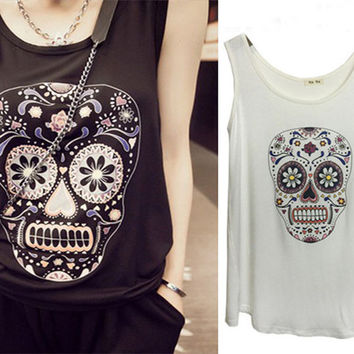 Summer Skull Printed  Sleeveless Tank Top