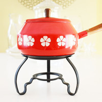 Swiss Fondue Pot, with stand; Red with white flowers, Enamelware. Wooden handle and knob