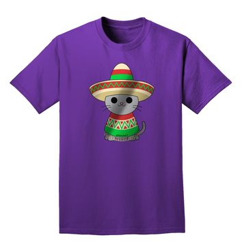 Sombrero and Poncho Cat - Metallic Adult Dark T-Shirt by TooLoud