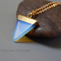 Opalite Triangle Gemstone Pendant Necklace 18k Gold Plated Clear Crystal