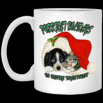 Cat And Dog Christmas - Dog And Cat In Santa Hat - Coffee Mug