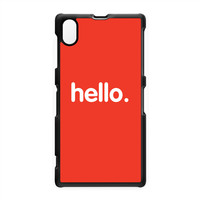 Hello Black Hard Plastic Case for Sony Xperia Z1 by textGuy