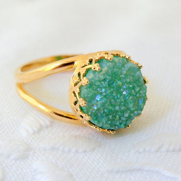 Druzy ring, mint green seafoam ring, Gemstone ring, 14k Gold ring, birthstone ring, Cocktail ring,  Vintage ring, bridesmaid gift
