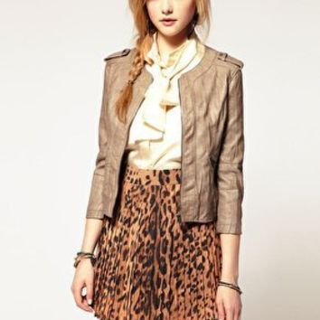 A Wear | A|Wear Faux Leather Bomber Jacket at ASOS