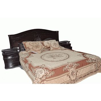 Tache 3 to 5 PC Orange Chenille Medallion Desert Oasis Bedspread Set (DSC0019)
