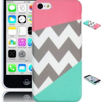 Bastex Coral Pink and Teal Chevron Snap on Case for iPhone 5c