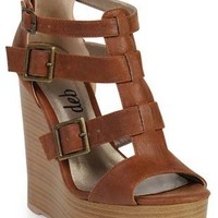 wood platform wedge with buckled straps  - debshops.com