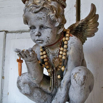 Cherub statue hand made crown adorned with jewelry French Santos inspired ooak home decor Anita Spero