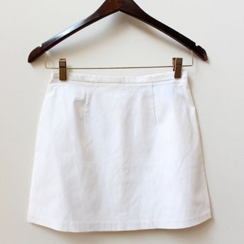 White Minimal Mini Skirt