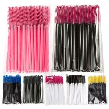 11.11 50PCS/pack Disposable Brush Mascara Wands Applicator Wand Eyelash Comb Brushes Spoolers Makeup Tool