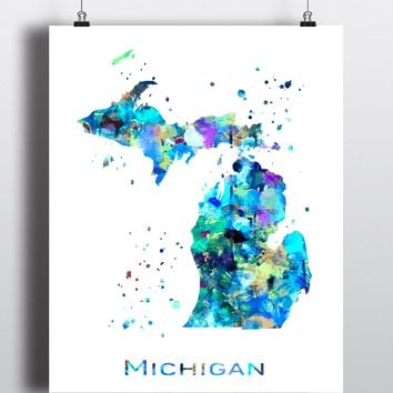 Michigan Map Art Print - Unframed