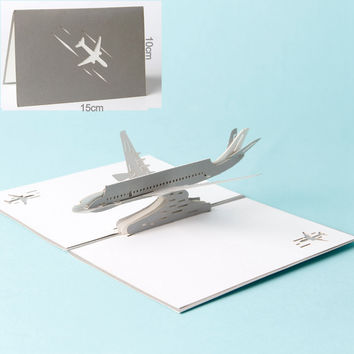 Paper Laser cut 3D pop up cards vintage plane gifts postcard birthday Father's day greeting cards with envelope carte postale