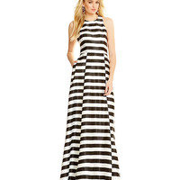 Betsy & Adam Satin Striped Racerback Gown | Dillards