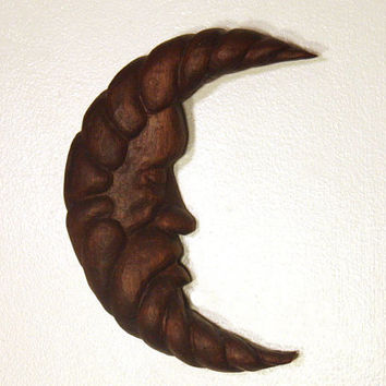 Man in the Moon Wood Carving Hand Carved Wall Sculpture Small