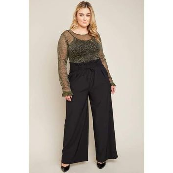EvaMarie Gathered Waist Wide Leg Pants