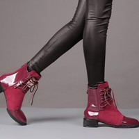 Leather Flat Martin Ankle Boots  for Women