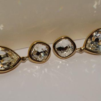 Trifari Gold Tone Unique Large Sparkly Crystal Earrings.