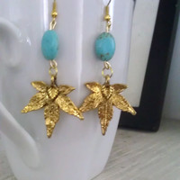 Bohomian Gold Marijuana Leaf Charm and Turquoise Earrings
