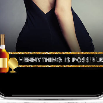 HENNYTHING IS POSSIBLE masculine black and gold glitter SnapChat Geofilter - Customized Birthday, 30th Birthday, 21st Birthday Party Filter