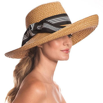 Eric Javits Women's Head-wear Socialite Hat (Natural/Black Mix)