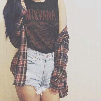 Mystery Hipster Outfit: High Waisted Shorts, Flannel, and Tee - Choose Your Sizes