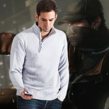 Game Causal Watch Dogs Aiden Pearce Sweater Cosplay Costume Knitted Warm Loose Stand Collar Clothes For Men