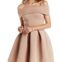 Nude Off-the-Shoulder Pleated Skater Dress by Charlotte Russe