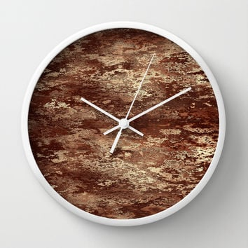 Brown wood bark texture Wall Clock by Natalia Bykova