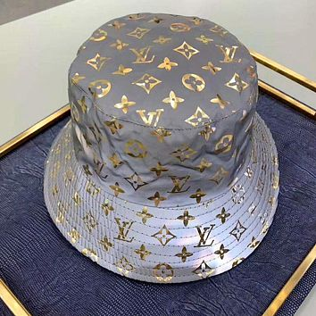 LV 2019 new female models personality wild 3M reflective fisherman hat Gold letters print logo