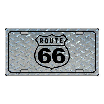 Smart Blonde Route 66 Shield Diamond Novelty Vanity Metal License Plate Tag Sign