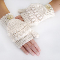 Ivory Convertible Fingerless Mittens, Crochet Glittens, Ivory Texting Mittens, Women Crochet Gloves, Winter Fashion, Ivory Mittens