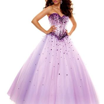 MisDress Sweetheart Floor Length Tulle Ball Gown Prom Dress (4, Turquoise)