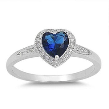 Sterling Silver Halo Blue Sapphire CZ Heart Engagement Ring size 4-10