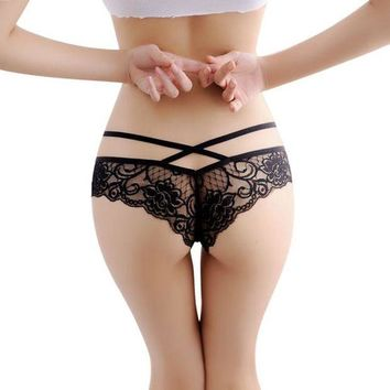DCCKFV3 Hot 2016 New  Women Sexy Lace Panties Briefs Transparent Lingerie Knickers Panty V String thong Underwear bragas mujer